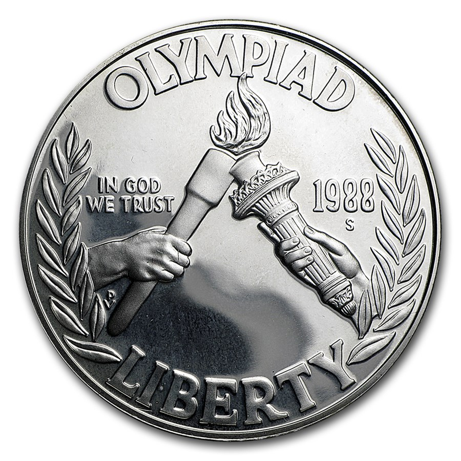 1988-S Olympic $1 Silver Commem Proof (w/Box & COA)