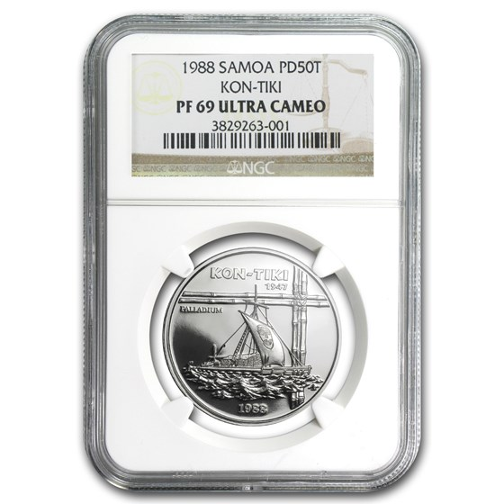 1988 Samoa 1 oz Palladium 50 Tala Kon-Tiki PF-69 NGC