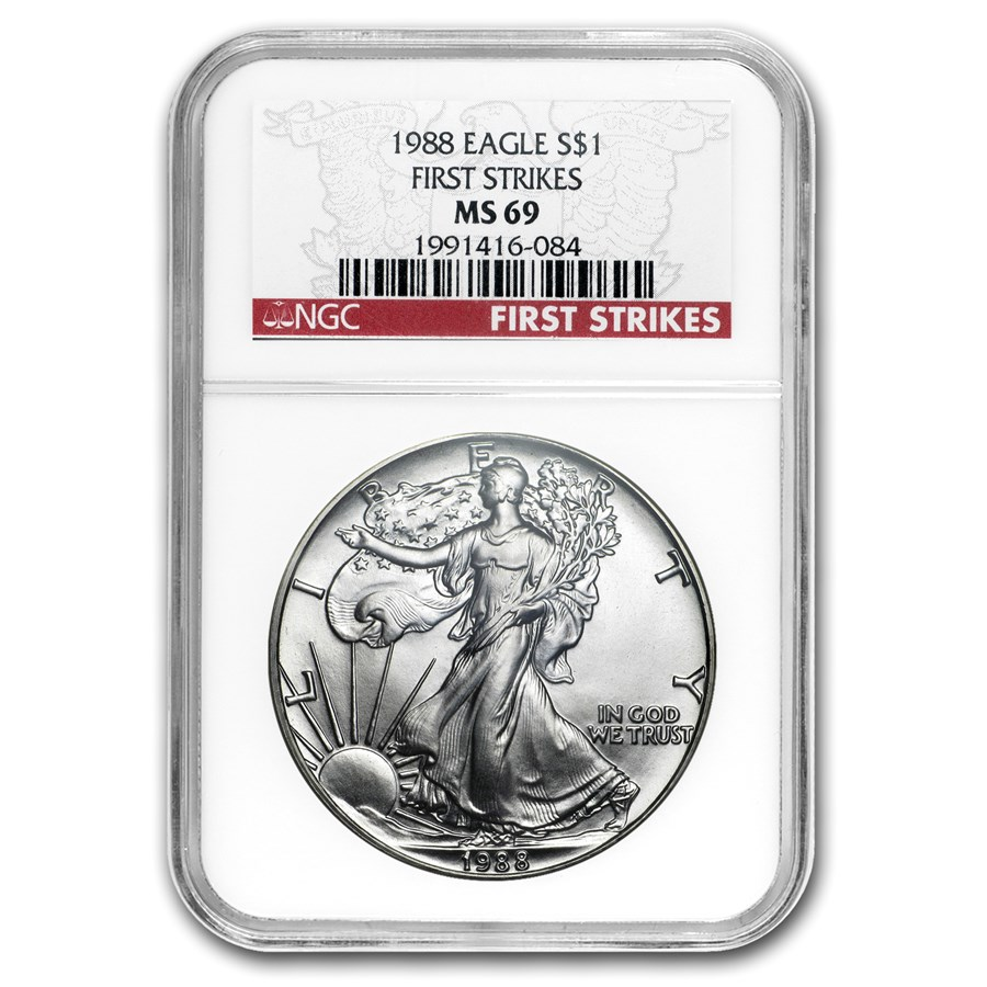 1988 Silver American Eagle MS-69 NGC (First Strikes)
