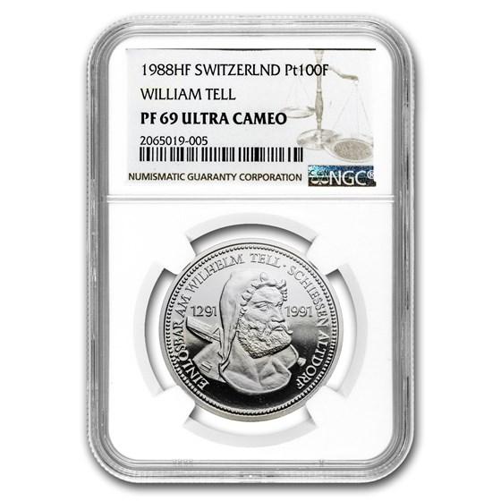 1988 Switzerland 1 oz Proof Platinum William Tell PF-69 NGC