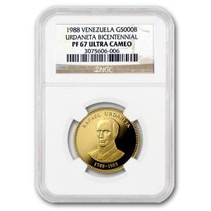 1988 Venezuela Proof Gold 5000 Bolivares PF-67 NGC