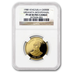 1988 Venezuela Proof Gold 5000 Bolivares PF-68 NGC