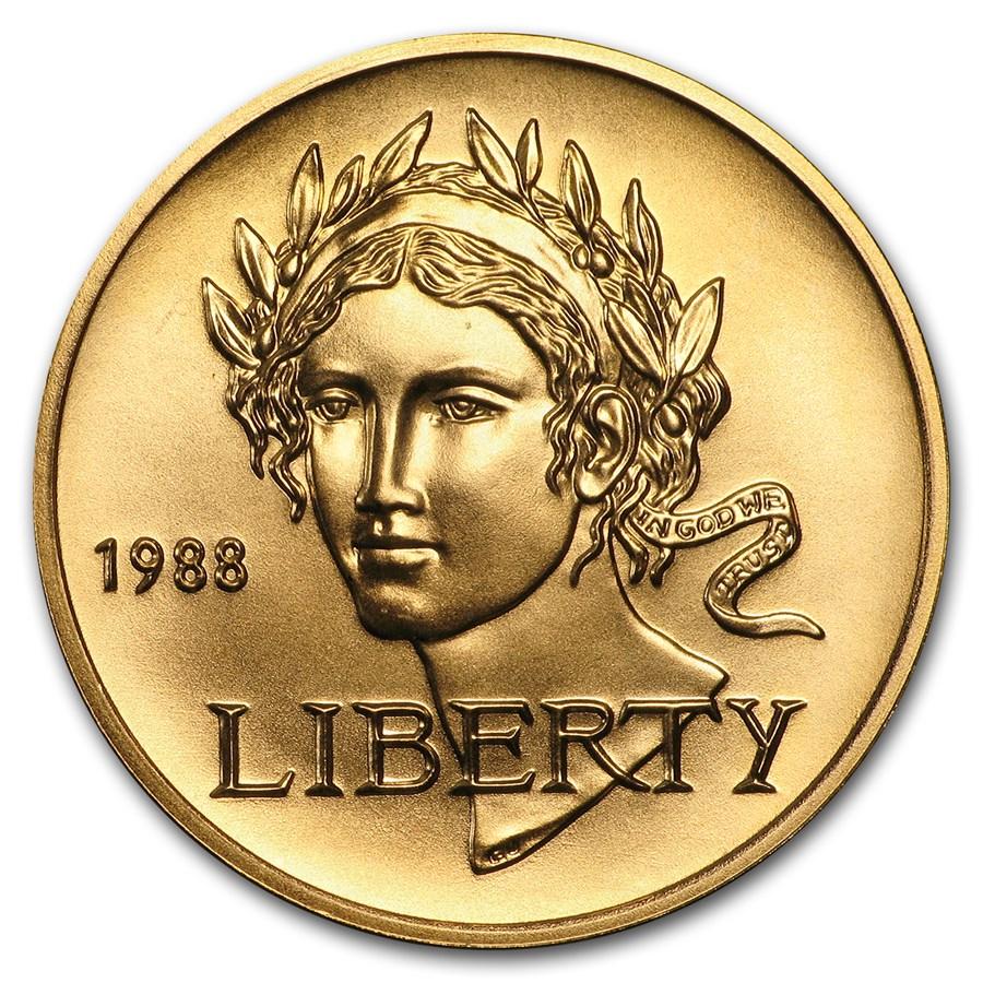 1988-W Gold $5 Commem Olympic BU (w/Box & COA)