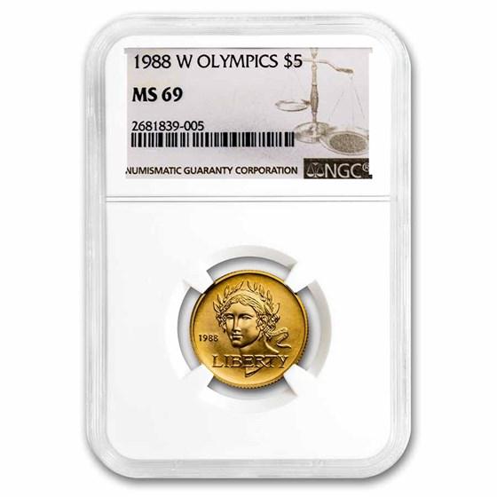 1988-W Gold $5 Commem Olympic MS-69 NGC