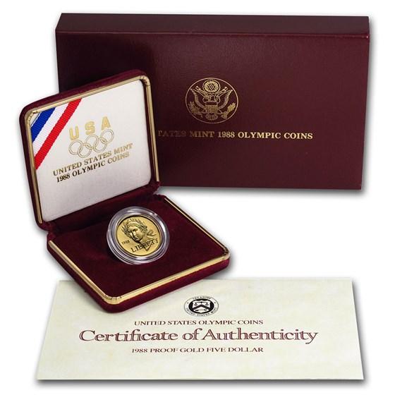 1988-W Gold $5 Commem Olympic Proof (w/Box & COA)