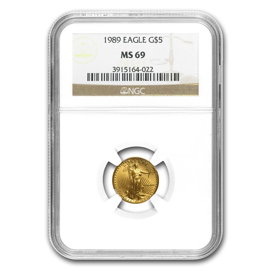 1989 1/10 oz American Gold Eagle MS-69 NGC