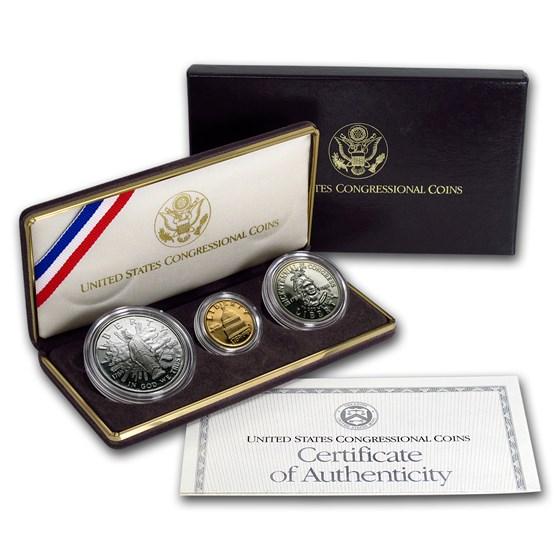 1989 3-Coin Commem Congressional Proof Set (w/Box & COA)