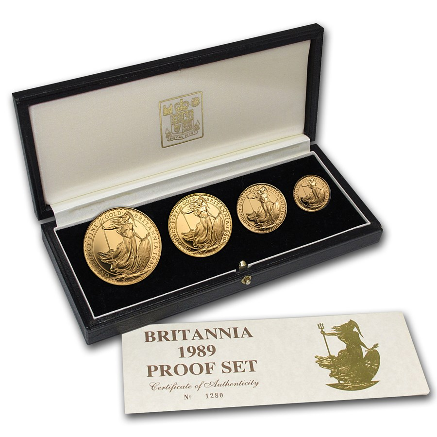 1989 4-Coin Gold Britannia Proof Set (w/Box & COA)