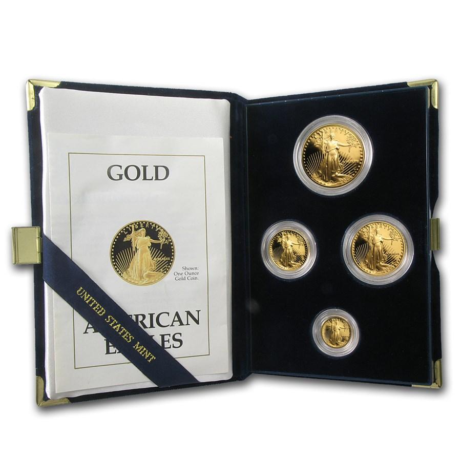 1989 4-Coin Proof American Gold Eagle Set (w/Box & COA)