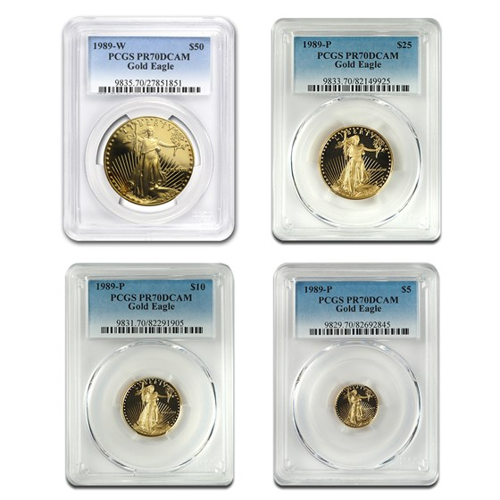 1989 4-Coin Proof Gold American Eagle Set PR-70 PCGS