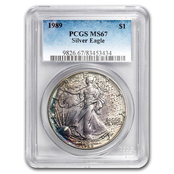 1989 American Silver Eagle MS-67 PCGS (Obv Toning)