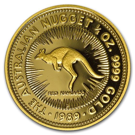 1989 Australia 1/2 oz Proof Gold Nugget