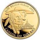 1989 Canada 1/4 oz Proof Gold $100 Sainte-Marie (No Box/COA)