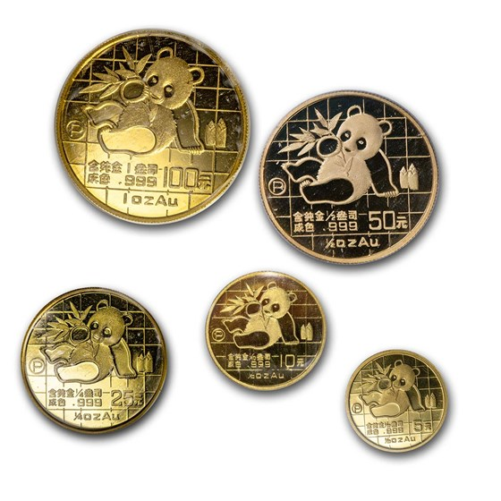 1989 China 5-Coin Proof Gold Panda Set (Capsule Only)