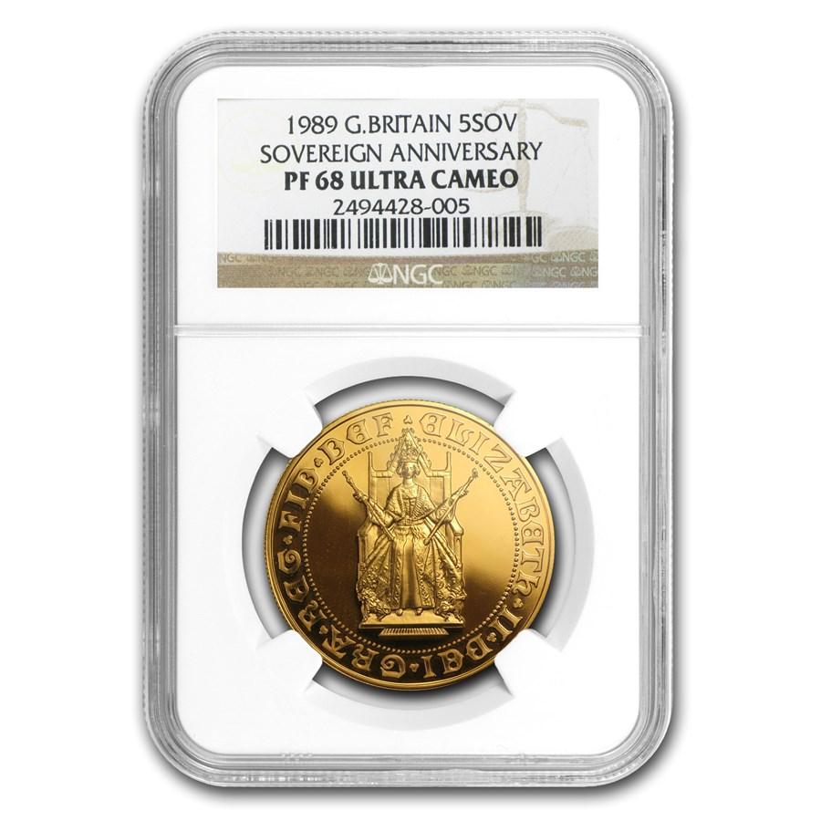 1989 Great Britain Gold £5 Sov 500th Anniv PF-68 NGC