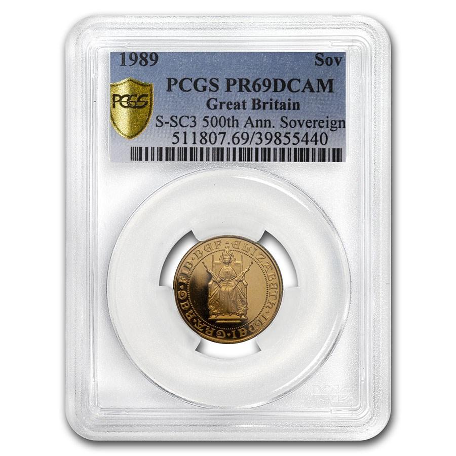 1989 Great Britain Gold Sovereign 500th Anniv PR-69 PCGS