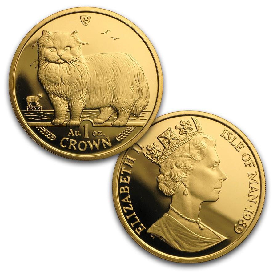 1989 Isle of Man 5-Coin Gold Persian Cat Proof Set (w/o Box&COA)