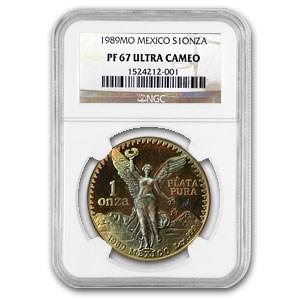 1989 Mexico 1 oz Silver Libertad PF-67 NGC (Toning)