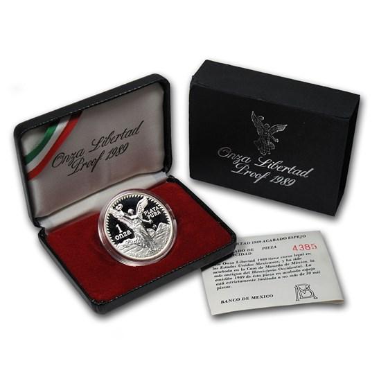 1989 Mexico 1 oz Silver Libertad Proof (w/Box & COA)