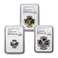 1989 Mexico 3PC Gold,Silver, Platinum Rainbow Proof Set PF-69 NGC