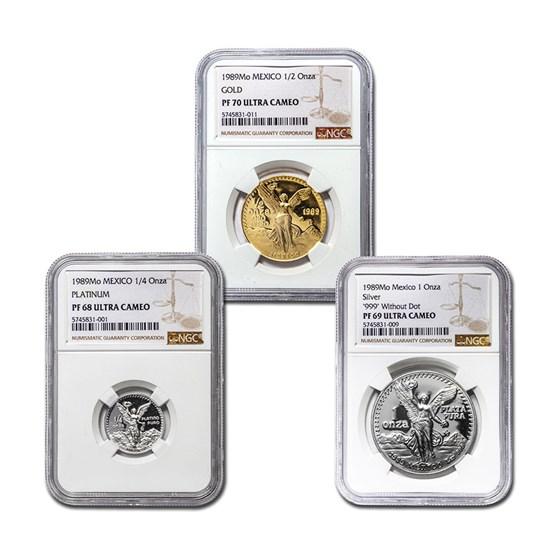 1989 Mexico 3PC Gold,Silver, Platinum Rainbow Proof Set PF-70 NGC