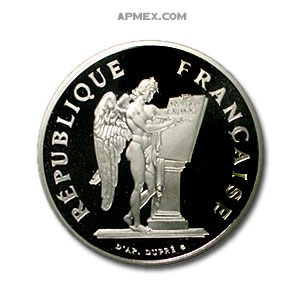 1989 Platinum 100 Francs French Angel (Abrasions, APW .643)