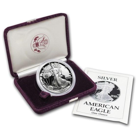 1989-S 1 oz Proof American Silver Eagle (w/Box & COA)