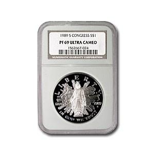 1989-S Congressional $1 Silver Commem PF-69 NGC (Spots)