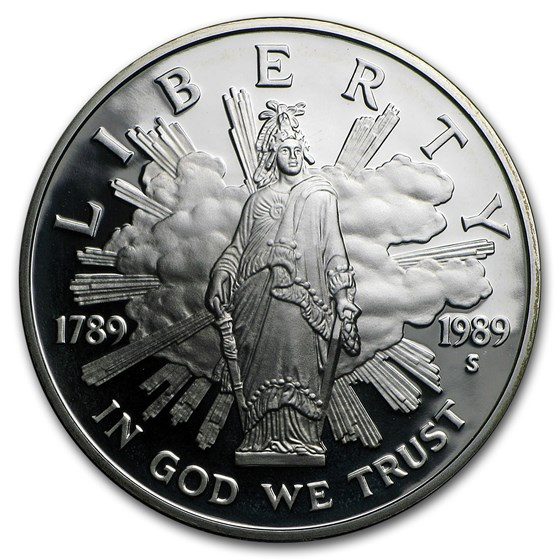 1989-S Congressional $1 Silver Commem Proof (w/Box & COA)
