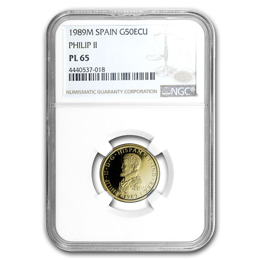 1989 Spain Proof Gold 50 Ecu Philip II PF-65 NGC