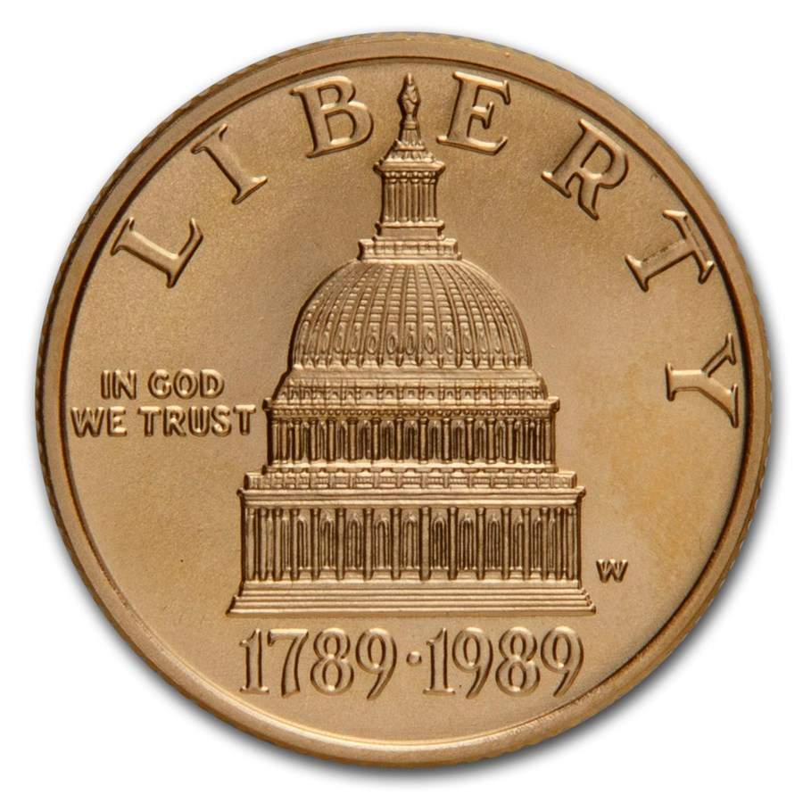 1989-W Gold $5 Commem Congressional BU (w/Box & COA)