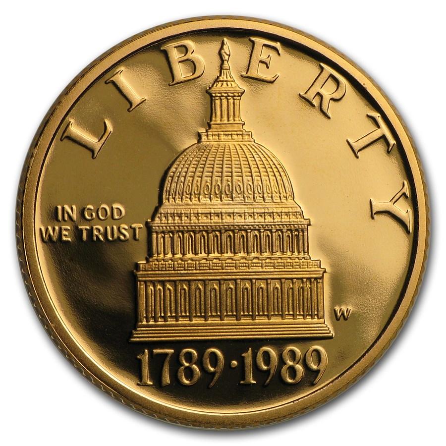 1989-W Gold $5 Commem Congressional Proof (w/Box & COA)