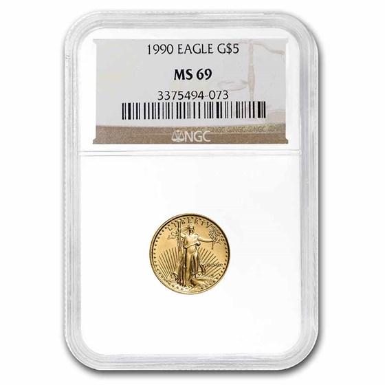 1990 1/10 oz American Gold Eagle MS-69 NGC