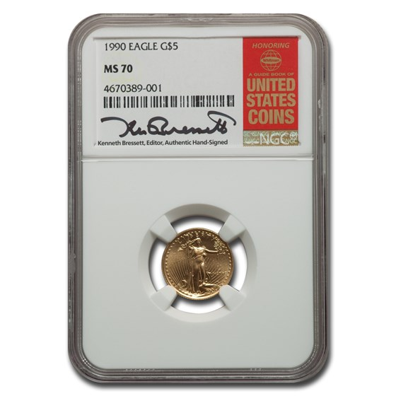 1990 1/10 oz American Gold Eagle MS-70 NGC (Bressett)