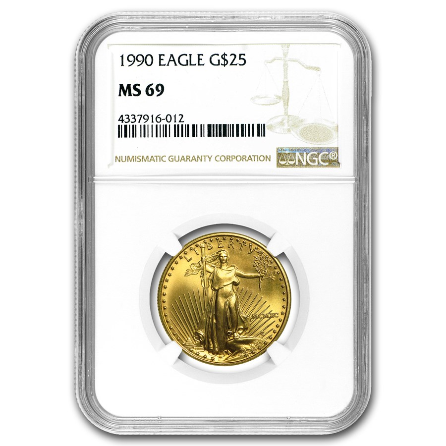 1990 1/2 oz Gold American Eagle MS-69 NGC