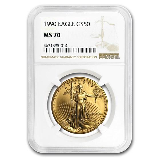 1990 1 oz American Gold Eagle MS-70 NGC