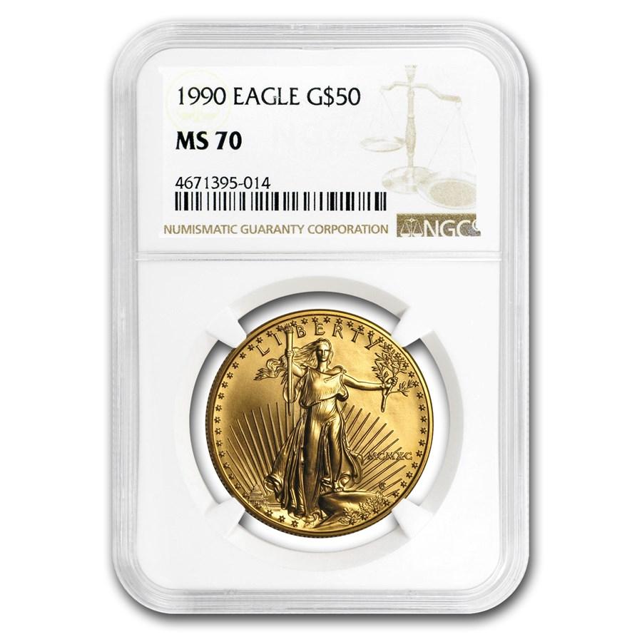 1990 1 oz Gold American Eagle MS-70 NGC