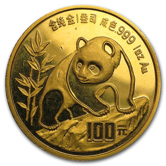 1990 1 oz Gold Chinese Panda Small Date (Abrasions)