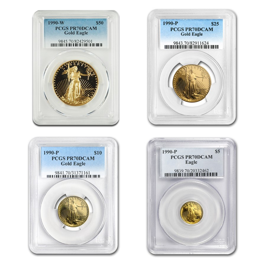 1990 4-Coin Proof American Gold Eagle Set PR-70 PCGS