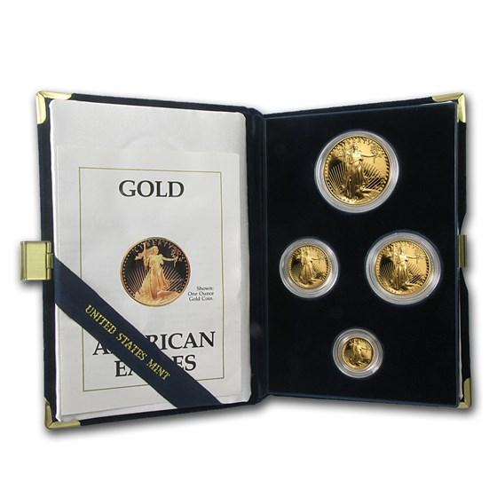 1990 4-Coin Proof American Gold Eagle Set (w/Box & COA)
