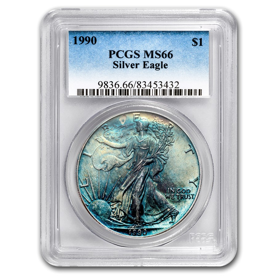1990 American Silver Eagle MS-66 PCGS (Obv & Rev Toning)