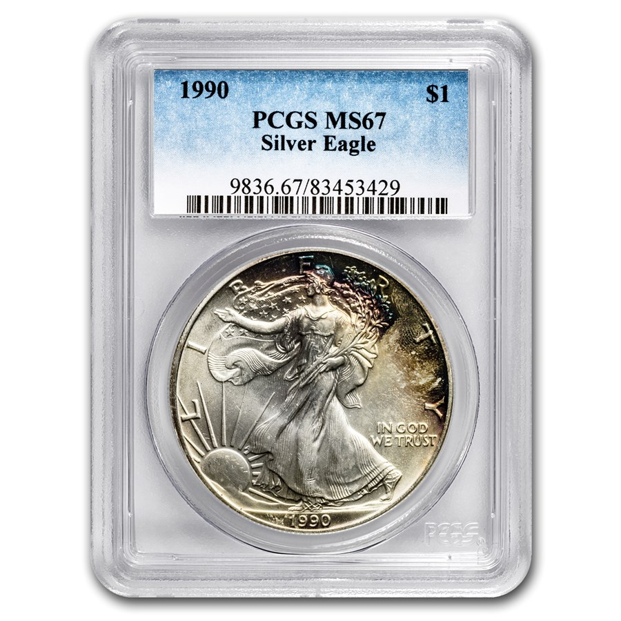 1990 American Silver Eagle MS-67 PCGS (Obv and Rev Toning)