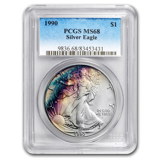 1990 American Silver Eagle MS-68 PCGS (Obv and Rev Toning)