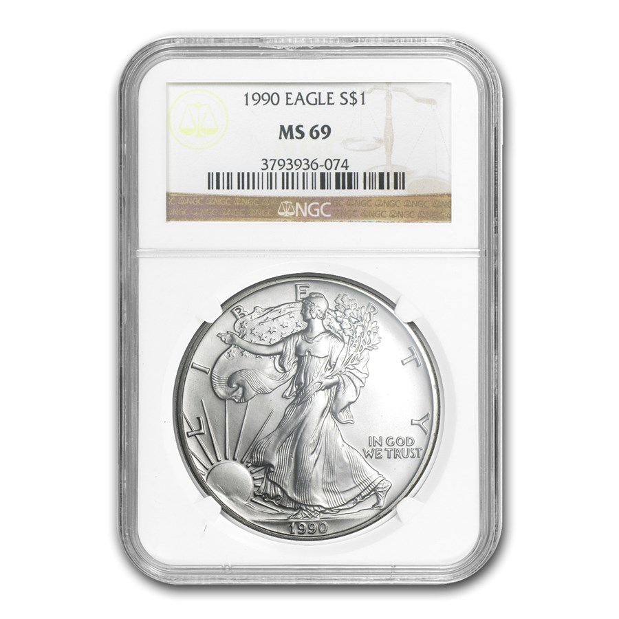 1990 American Silver Eagle MS-69 NGC