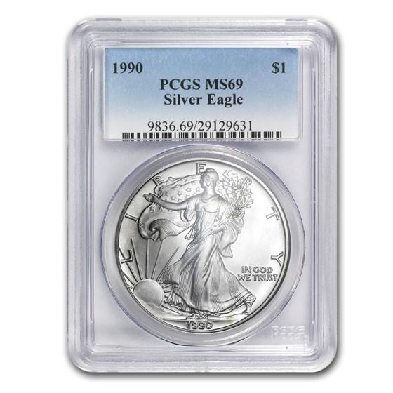 1990 American Silver Eagle MS-69 PCGS