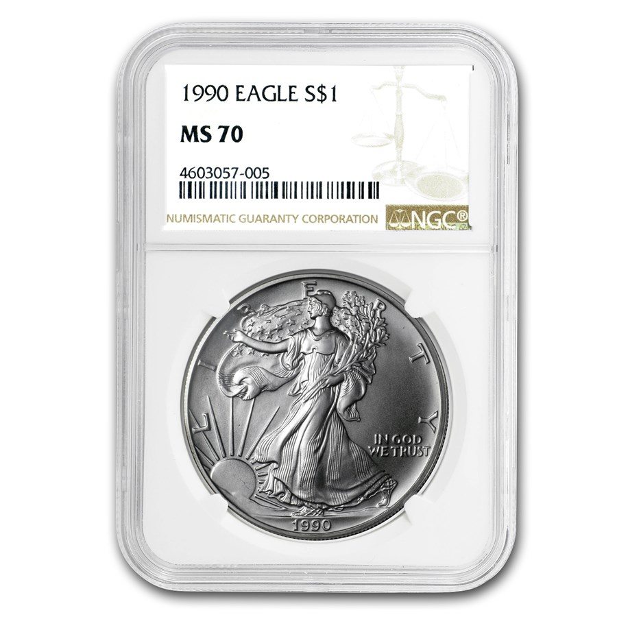 1990 American Silver Eagle MS-70 NGC