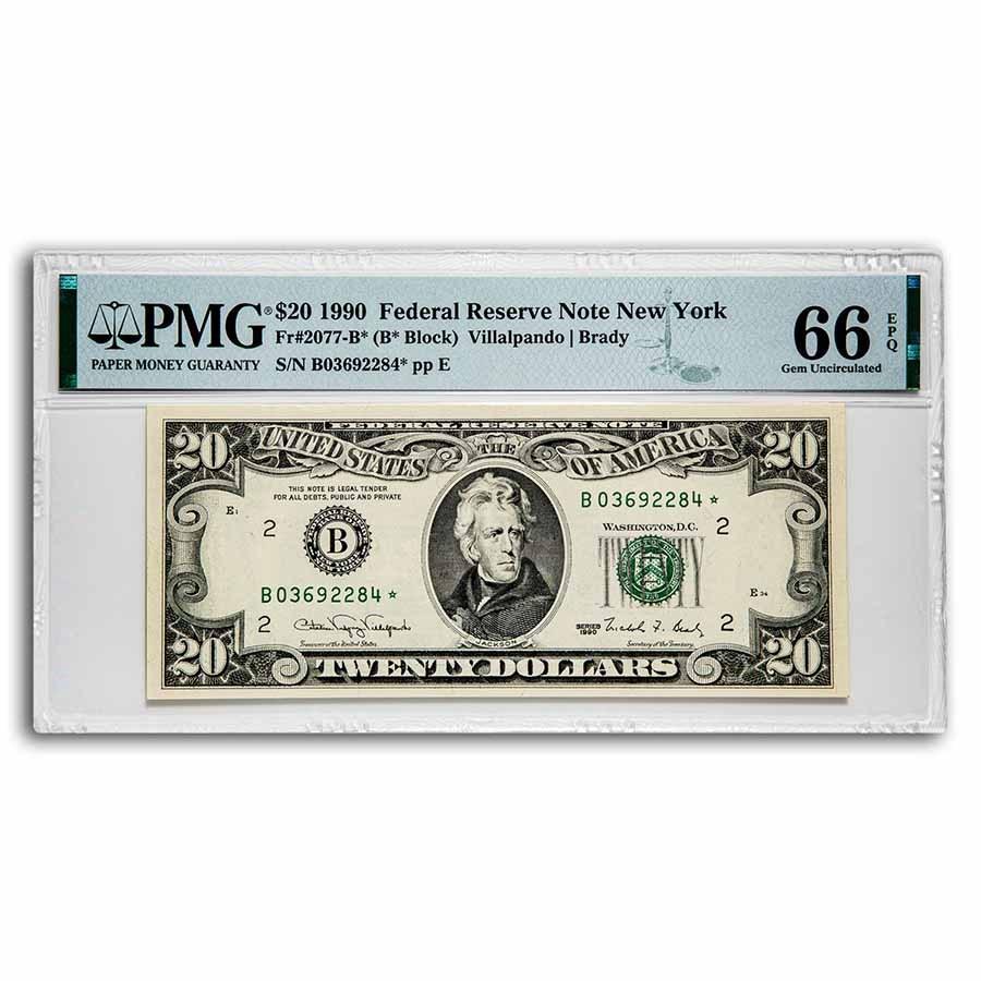 1990* (B-NY) $20 FRN Gem CU-66 EPQ PMG(Fr#2077-B*) Star Note