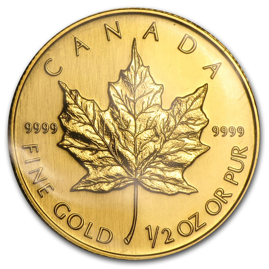 1990 Canada 1/2 oz Gold Maple Leaf BU
