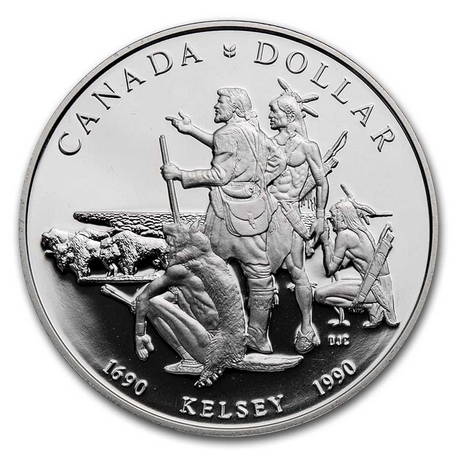 1990 Canada Silver Dollar Proof (Henry Kelsey w/OGP)
