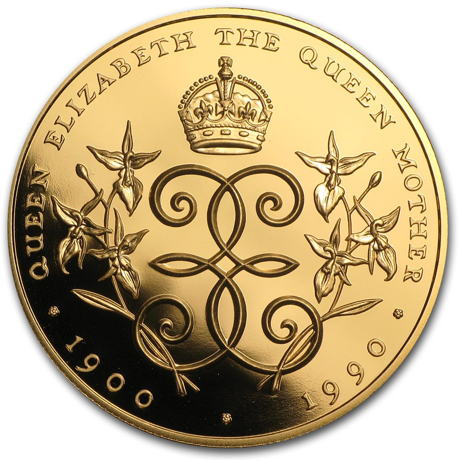 1990 Cayman Islands Proof Gold 250 Dollars Queen Mother